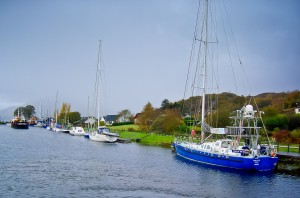 Caledonian Canal with boats