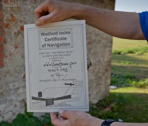 Certificate of Navigation through the Watford Locks