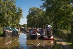 Boats gathered on the Coventry Canal