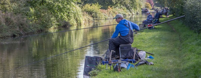 Fishing enthusiasts occupy the towpath near Aterthley Junction