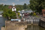 Goring Lock from the road bridge across the THames.