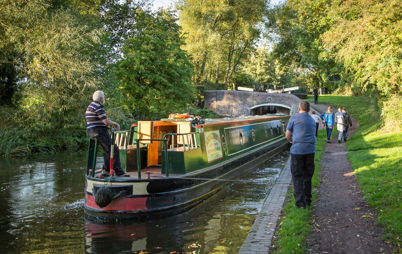 Lining up for entry to Dimmingsdale Lock Bridge 52 and Lock 28 beyond.